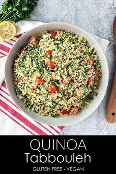 Quinoa Tabbouleh is a healthy side dish, and a great addition to any meal. This gluten free and vegan friendly salad is full of fresh herbs and is so easy to make. Veggie Recipes, Whole Food Recipes, Salad Recipes, Vegetarian Recipes, Cooking Recipes, Healthy Recipes, Veggie Food, Cooking Tips, Vegan Quinoa Recipes