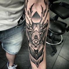 Awesome Geometric Tattoo - 65 Nobel Deer Tattoo Meaning and Designs - Express . - Great Geometric Tattoo – 65 Nobel Deer Tattoo Meaning and Designs – Express … – Dennis Brit - Diy Tattoo, Stag Tattoo, Tattoo Arm, Forearm Tattoo Design, Forearm Tattoos, Sleeve Tattoos, Modern Tattoo Designs, Tattoo Designs Men, Tattoo Style