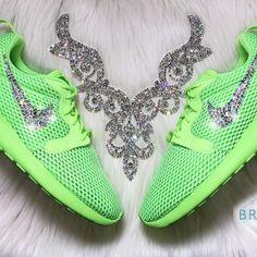 1e20c8619526c Swarovski Nike Roshe Hyperfuse In Neon Lime Green Authentic Women s New Nike  Roshe Hyperfuse BR Shoes
