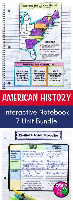 Interactive Notebook American History Bundle - Let your 4th, 5th, or 6th grade classroom or home school students use these printables, scaffolded notes, and interactive notebooks to master United States Geography through Westward Expansion. You get maps, graphic organizers, essential questions, vocabulary, and more. Topics include US Geography, Native Americans, explorers, Colonial America, American Revolution, US Government & Civics, and more. {upper elementary, fourth, fifth, sixth graders} $