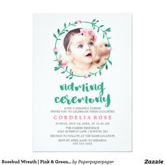 Baby naming ceremony invitation graphic design pinterest rosebud wreath pink green naming ceremony invitation stopboris Images