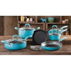 In Red please :) The Pioneer Woman Vintage Speckle 10-Piece Non-Stick Pre-Seasoned Cookware Set - Walmart.com