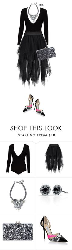 """Untitled #7145"" by lisa-holt ❤ liked on Polyvore featuring Alice + Olivia, Victoria Kay, Edie Parker and Jimmy Choo"