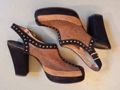 1940 mesh and studs platform pumps in tan and black.