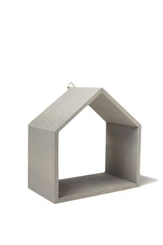 Plywood shelf in the shape of a house, has a twine loop or hook for easy hanging 22cm x 22cm x 12cm.