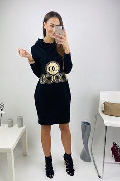 Dámske športové šaty čierne so zlatou potlačou COCO Model, Sweaters, Dresses, Fashion, Vestidos, Moda, Fashion Styles, Scale Model, Sweater