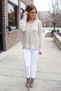 Lightweight V-neck Perforated Sleeve Detail Knit Sweater – UOIOnline.com: Women's Clothing Boutique