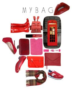 """""""RED Tuesday"""" by mybag ❤ liked on Polyvore featuring 1Wall, Grafea, Butter London, Maybelline, French Connection, Tommy Hilfiger, House of Harlow 1960, The Cambridge Satchel Company, Hunter and Melissa"""