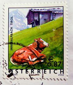 great stamp Austria 87c 0.87 € (before overprint 55c)