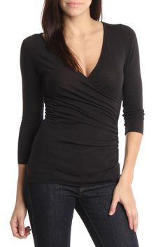 Sweet Pea Surplice Top In Black -