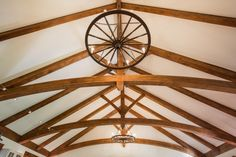 One kind of timber frame truss design, a king post with curved bottom chord Timber Frame Home Plans, Timber Frame Homes, Ceiling Fan, House Plans, King, Interior Design, Gallery, Building, Projects