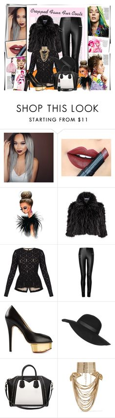 """""""Cropped Faux Fur Coats"""" by fashionistatrendy ❤ liked on Polyvore featuring Fiebiger, Gina Bacconi, BCBGMAXAZRIA, Joseph, Charlotte Olympia, Topshop, Givenchy, MAC Cosmetics, Rosantica and croppedfauxfur"""
