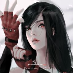 Tifa by wlop Going to paint some characters in FF series, tell me who is your favourite? Mine are Tifa, Yuna and Luna! The original file and painting process video will be provided to supporters on my. Final Fantasy Vii, Final Fantasy Girls, Art Manga, Anime Art Girl, Tifa Ff7 Remake, Cloud And Tifa, Girls With Black Hair, Tifa Lockhart, Fantasy Artwork