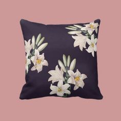 Dramatic Black and White Lilies Pillows by joacreations