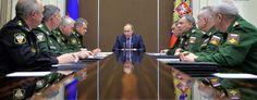 Russian President Vladimir Putin, center, meets with defense officials in the Black Sea resort of Sochi, Russia. (AP)