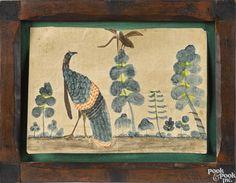 Pennsylvania watercolor drawing of a turkey, 19th c., 4 1/2'' x 6 1/2''. - Price Estimate: $100 - $200