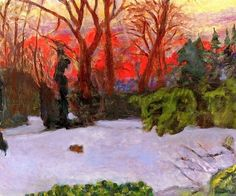 Pierre Bonnard (French, 1867-1947) - The Garden in the Snow, Sunset, 1910