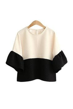 Goodnight Macaroon 'MONACO' CREAM WHITE BLACK COLOR BLOCK BLOUSE $69.00 USD