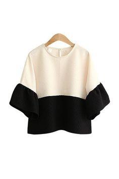 'Monaco' Cream White Black Color Block Blouse
