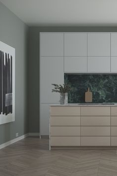 A contemporary kitchen with a classic feel. Sleek but with a warm touch. A.S.Helsingö SAMSÖ kitchen in Feather Grey and White Oak. Built on IKEA METOD cabinets. Click image for more  #kitchens #interiors #kitcheninspo #scandinaviandesign