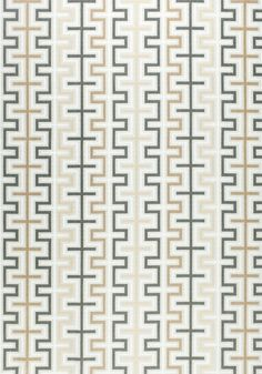 Zipper Outdoor Fabric An eye-catching woven fabric with a geometric design shown in shades of grey, camel and off-white.