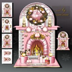 Pink Christmas Fireplace on Craftsuprint designed by Atlic Snezana - Pink Christmas Fireplace: 4 sheets for print with decoupage for 3D effect plus few sentiment tags (for your own personal text) - Now available for download!