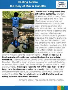 Amazing story of how Guiding Eyes Heeling Autism dog Carlotta has been able to help Max, a young boy with autism