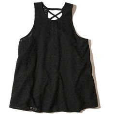 Hollister Strappy Lace High-Neck Tank ($24) ❤ liked on Polyvore featuring tops, black, high neck tank top, high neck racerback tank, lace racerback tank, lace top and spaghetti-strap tank tops