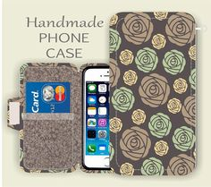 Taupe Mint floral LG G5 galaxy note 5 wallet by superpowerscases