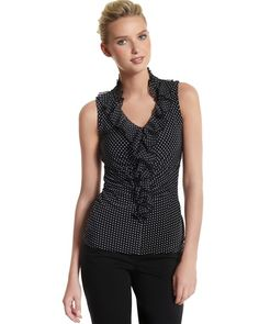 Dot Ruffle Shell -- I find it difficult to resist polka dots.  It would be nice to have them in some color besides black and white, though.  I love the ruffles and slim fit of this professional but sexy top.