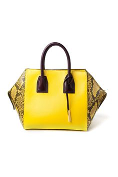 Yellow With Python Detail Tote by Stella McCartney Boston Bag, Stella Mccartney, Bowling Bags, Artificial Leather, Beautiful Bags, Women's Accessories, Handbags, Tote Bag, Things To Sell