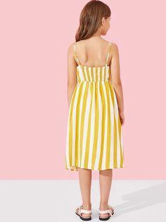 Girls Button Up Patch Pocket Detail Striped Cami Dress – gagokid Source by 2019 Little Girl Dresses, Girls Dresses, Summer Dresses, Dresses Dresses, Tee Dress, Belted Dress, Moda Junior, Cord Pinafore Dress, Button Front Dress