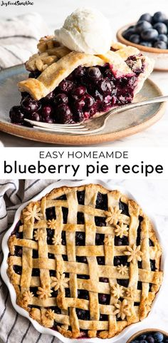 This is the best homemade Blueberry Pie Recipe you'll ever make! It's made from scratch with a fresh blueberry pie filling and NO cornstarch, and includes step-by-step instructions photos and a video! Best Blueberry Pie Recipe, Healthy Blueberry Pies, Blackberry Pie Recipes, Fresh Blueberry Pie, Homemade Blueberry Pie, Blueberry Recipes, Homemade Pie, Easy Pie Recipes, Dessert Recipes