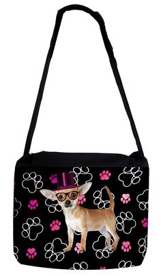 Rosie Parker Inc. TM Medium Sized Messenger Bag 11.75' x 15.5' and 5' x 8' Pencil Case SET - Chihuahua with Pink Top Hat and Pawprints ** Want additional info? Click on the image. (This is an Amazon Affiliate link and I receive a commission for the sales)