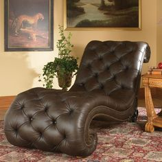 AICO Trevi Leather Armless Chaise in Brown