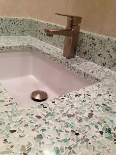 New bathroom countertops from glass recycled in Dallas!
