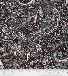 Keepsake Calico Fabric Paisley Black White Red, , hi-res
