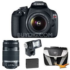 Canon EOS Rebel T5 18MP DSLR Camera w/ 18-55mm And 55-250IS Flash Kit