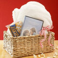 Thoughtful Valentine's Day Gift ideas  -  Movie Night Basket:           Package her favorite movie, a cozy blanket, and a package of popcorn in a wicker basket to plan a romantic date in for Valentine's Day.