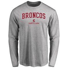 Santa Clara Broncos Proud Mascot Long Sleeve T-Shirt - Ash