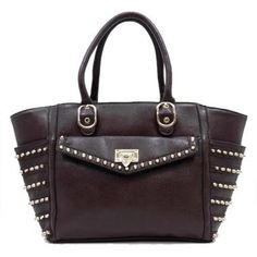 Annie Handbag ~ $69 Rich chocolate Brown colour with stud detailing and   gold hardware.