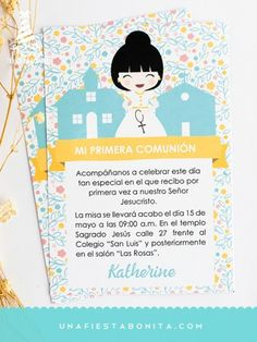 INVITACIÓN - PRIMERA COMUNIÓN - AMARILLO - niña - imprimible