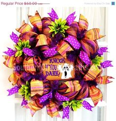 halloween decomesh wreaths | Halloween Holiday discovered : HaLlOwEeN wReAtH Slim Deco Mesh Purple ...