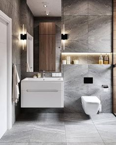 """""""Browse photos of Small Bathroom Tile Design. Find suggestions and inspiration for Small Bathroom Tile Design to enhance your own home. Bathroom Goals, Bathroom Trends, Bathroom Renovations, Bathroom Organization, Bathroom Ideas, Modern White Bathroom, Small Bathroom, Minimalist Bathroom, Master Bathroom"""