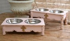 Shabby Chic Fleur de Lis Dog Bowls Raised Feeder