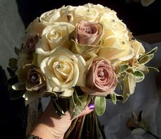Vendella and Amnesia rose hand tied bouquet by Bows & Blooms - ivory, cream, taupe wedding flowers