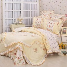 Free Shipping New arrival princess floral ruffle bedding sets,queen king duvet cover set autumn bedding