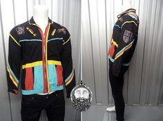 Vintage 90s Black Hipster Jakpak Jacket Fresh Prince Color Block Multicolor Bali Clothing 90s Bomber Jacket Hippy Jacket Bali Sekar Sali
