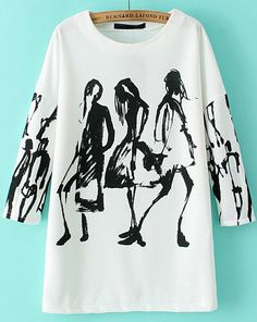 SheIn offers White Long Sleeve Graffiti Print Loose Blouse & more to fit your fashionable needs. Stoff Design, Graffiti Prints, Winter Mode, Painted Clothes, Mode Outfits, White Shop, White Long Sleeve, Diy Clothes, Passion For Fashion