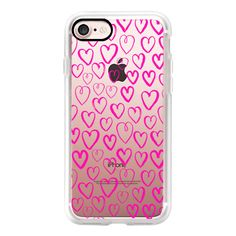 Bright Hot Pink hearts by andrea lauren cell phone case transparent... ($40) ❤ liked on Polyvore featuring accessories, tech accessories, iphone case, iphone cell phone cases, transparent iphone case, apple iphone cases, iphone hard case and iphone cases